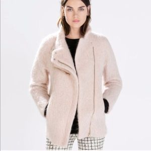 ZARA medium length blush pink fuzzy jacket XS